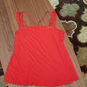 Red strappy tank